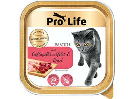 Pro Life Katze Katzennassfutter Pastete mit Gefluegelbrustfilet und Rind