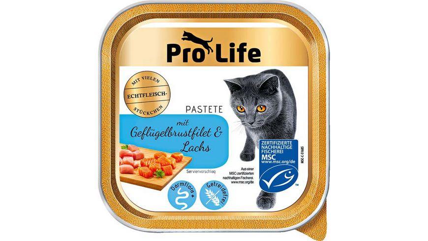 Pro Life Katze Katzennassfutter Pastete mit Gefluegelbrustfilet und Lachs