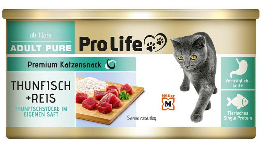 Pro Life Katze Katzennassfutter in eigenem Saft mit Thunfisch und Reis