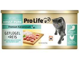 Pro Life Katze Katzennassfutter in eigenem Saft mit Gefluegelbrustfilet und Reis