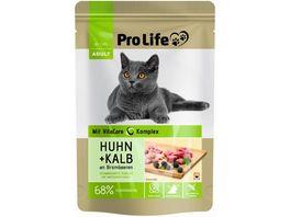 Pro Life Katze Katzennassfutter Terrine mit Huhn und Kalb an Brombeeren