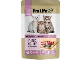 Pro Life Katze Katzennassfutter Terrine mit Rind und Pute an Blaubeeren