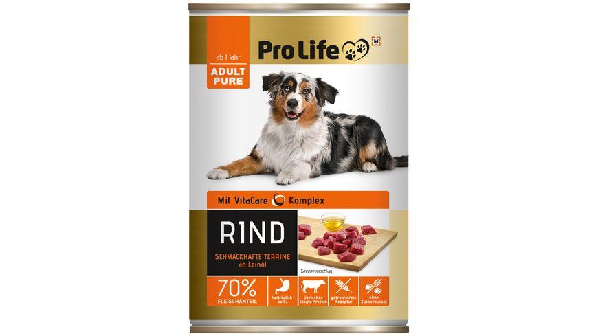 Pro Life Hundenassfutter Terrine mit Rind an kaltgepresstem Leinoel