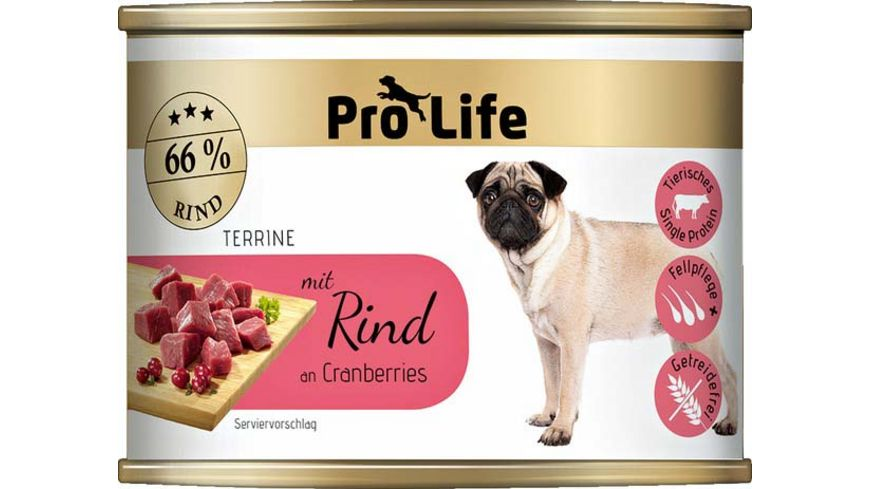 Pro Life Hundenassfutter Terrine mit Rind an Cranberries