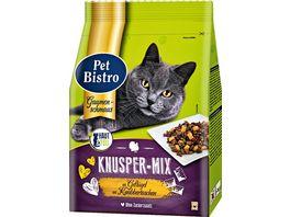 Pet Bistro Katzentrockenfutter Knusper Mix mit Gefluegel und Rind 800g