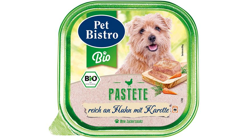 Pet Bistro Bio Hundenassfutter Pastete Reich an Huhn mit Karotten