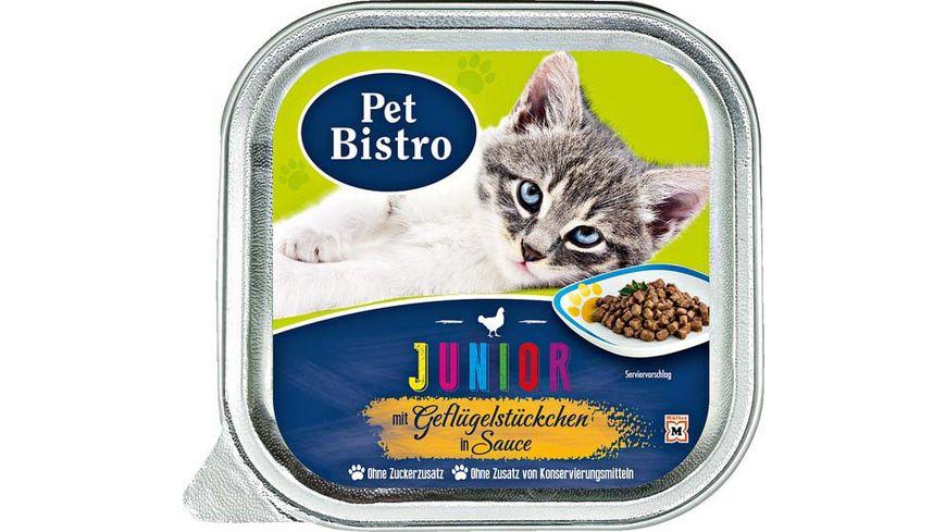 Pet Bistro Katzennassfutter Junior mit Gefluegelstueckchen in Sauce