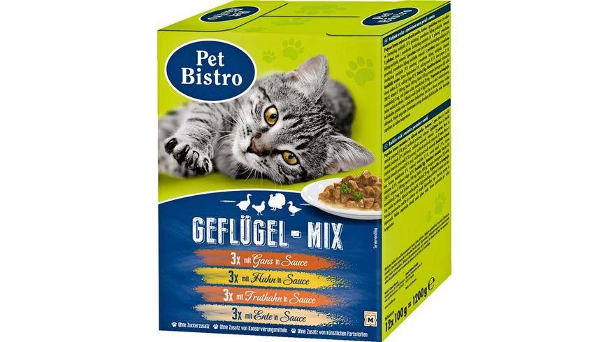 Pet Bistro Katzennassfutter Variationen in Sauce Gefluegel Mix 12 Beutel