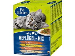Pet Bistro Katzennassfutter Variationen in Sauce Gefluegel Mix 12 Beutel