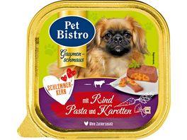 Pet Bistro Hundenassfutter Pastete mit Rind Pasta und Karotten im Schlemmerkern