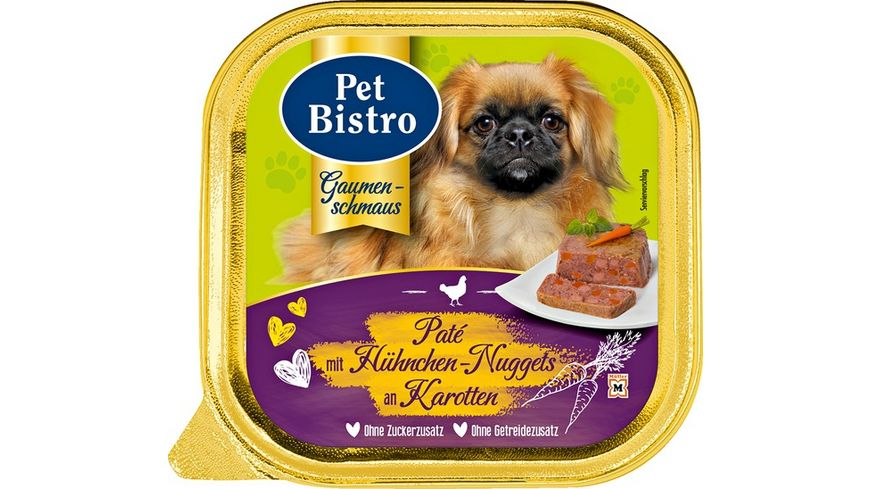 Pet Bistro Hundenassfutter Pate mit Huehnchen Nuggets an Karotten