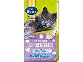 Pet Bistro Katzensnack kleine Koestlichkeit Schleck Snack mit Milch und Joghurt