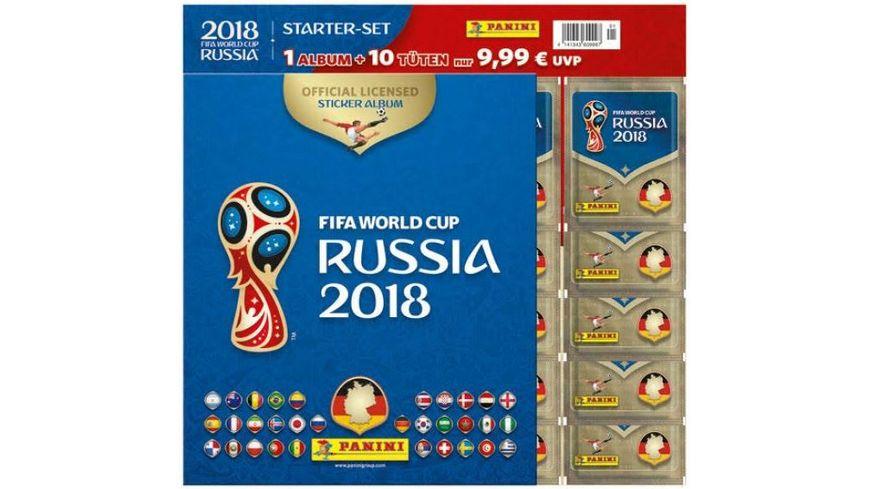 Panini FIFA World Cup Russia 2018 STARTER SET SAMMELALBUM 10 Tueten