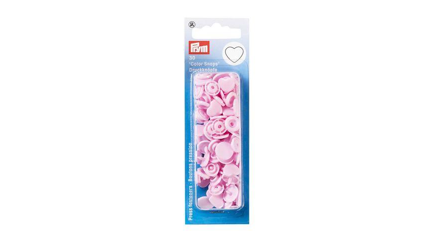 Prym naehfreie Druckknoepfe Color Snaps Herz rosa