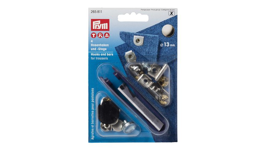 Prym naehfreie Hosenhaken und Stege ST 13 mm silberfarbig brueniert