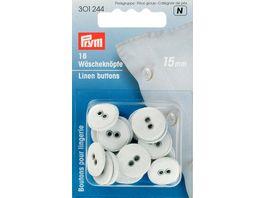 Prym Waescheknoepfe Leinen 24 15 mm weiss
