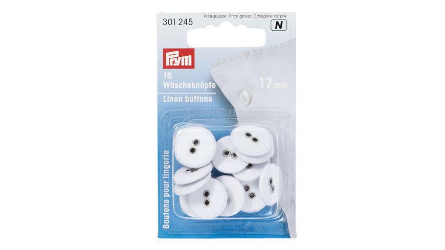 Prym Waescheknoepfe Leinen 24 17 mm weiss