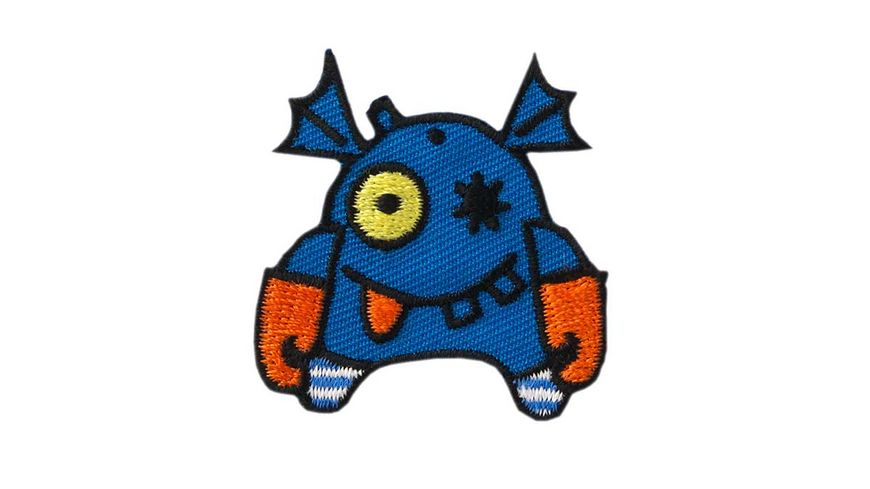 Mono Quick Buegelmotiv Monster blau orange