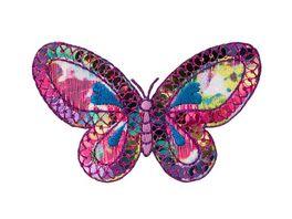 Mono Quick Buegelmotiv Schmetterling pink Pailletten