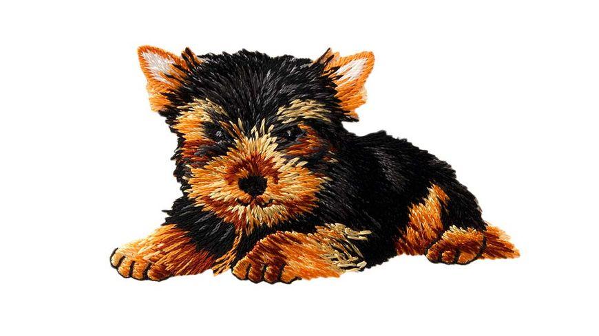 Mono Quick Buegelmotiv Hund braun schwarz