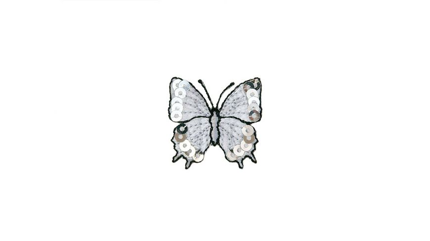 Mono Quick Buegelmotiv Schmetterling silber Pailletten