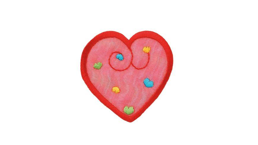 Mono Quick Buegelmotiv Herz rot schimmernd