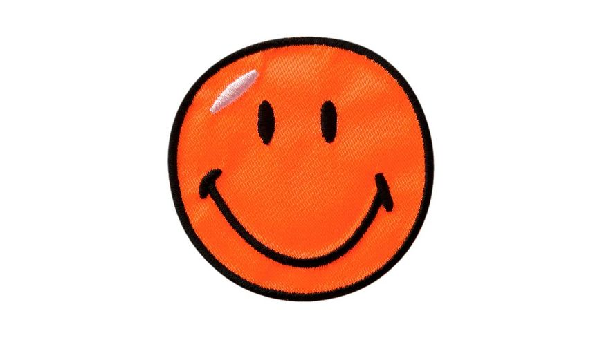 Mono Quick Buegelmotiv Smiley orange Satin