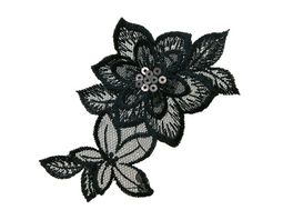 Mono Quick Buegelmotiv Blumenornament schwarz