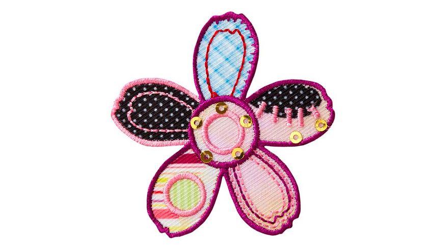 Mono Quick Buegelmotiv Blume Patchwork lila