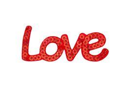 Mono Quick Buegelmotiv Love rot Pailletten