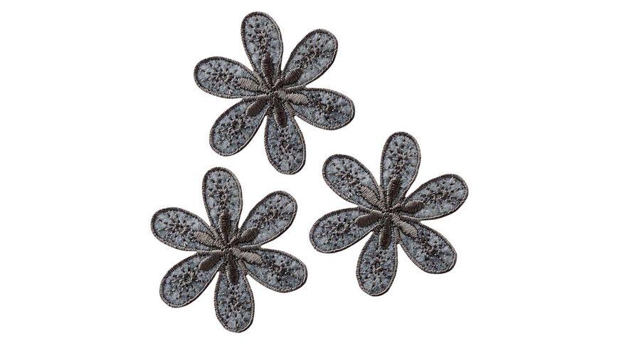 Mono Quick Buegelmotiv Blumen grau