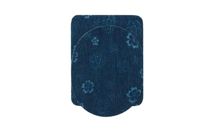Mono Quick Buegelmotiv Flicken blau Blumenmuster Sparpack