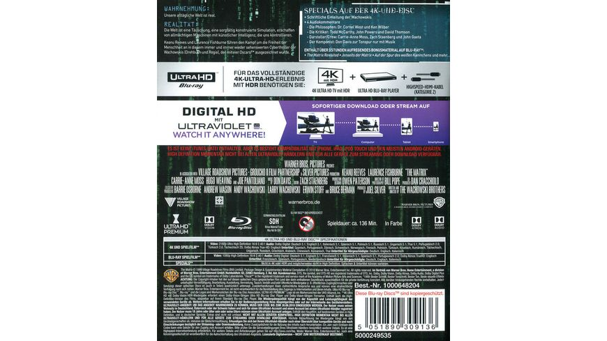 Matrix 4K Ultra HD 2D Blu ray remastered Bonus Blu ray