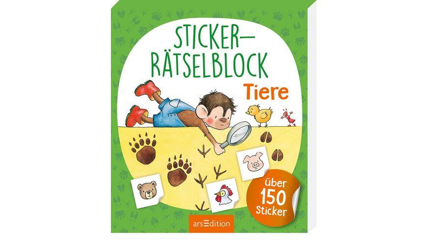 Buch Ars edition Sticker Raetselblock Tiere