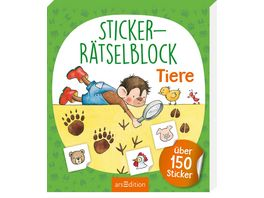Buch Ars edition Sticker Raetselblock Tiere