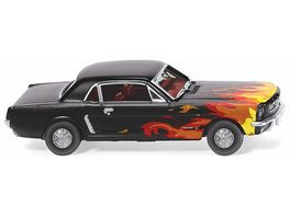 Wiking 0205 03 Ford Mustang Coupe schwarz mit Flammendekor 1 87
