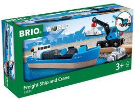 BRIO Bahn Containerschiff mit Kranwagen