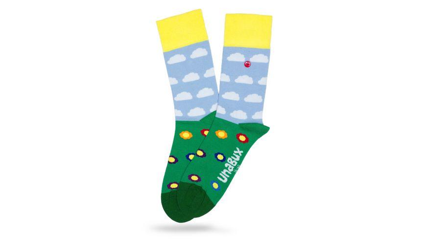 Unabux Socke Blumenwiese und Wolken