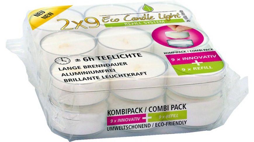 VILLA VERDE Teelichte Kombipack Refil 18 Stück weiß ohne Hülle