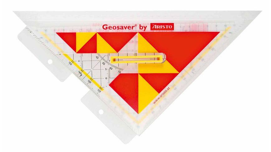 ARISTO Geometrie Dreieck mit Griff und Ordnerleiste 25cm
