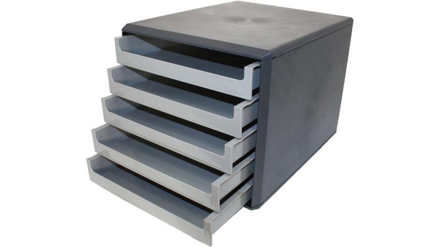Metzger Mendle Schubladenbox Kunststoff 5 Schuebe dunkelgrau