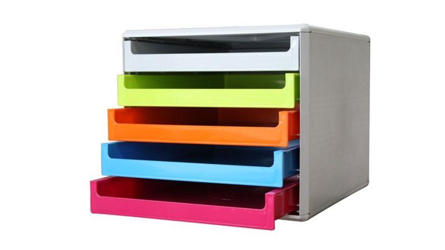 Metzger Mendle Schubladenbox Kunststoff 5 Schuebe farbig sortiert