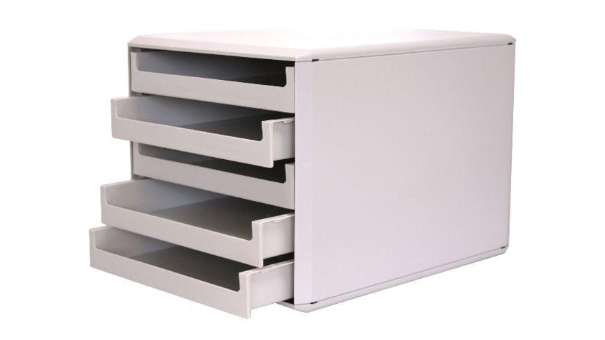 Metzger Mendle Schubladenbox Kunststoff 5 Schuebe hellgrau