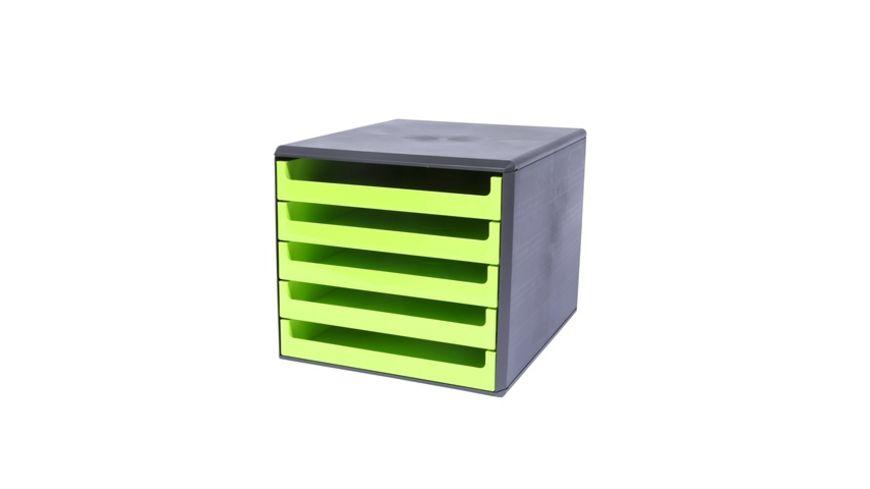 Metzger Mendle Schubladenbox Kunststoff 5 Schuebe lime green