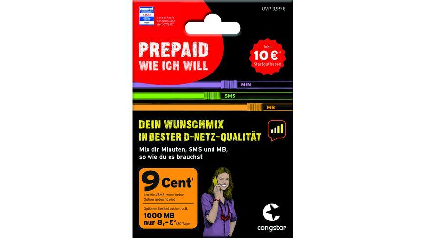 Congstar Prepaid Karte Kaufen.Sim Karte Congstar 10eur Wunsch Paket