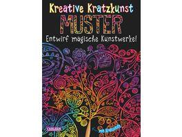 Buch Carlsen Kreative Kratzkunst Muster Set mit 10 Kratzbildern Anleitungsbuch und Holzstift