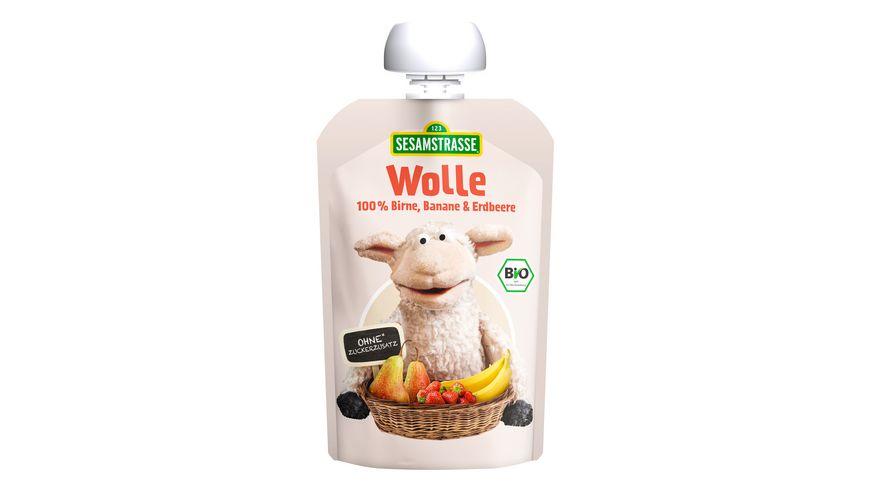 SESAMSTRASSE Wolle Quetschbeutel Birne Banane Himbeere