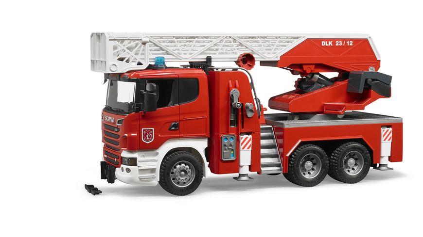 BRUDER Scania R Serie Feuerwehrleiterwagen mit Wasserpumpe und Light Sound Module 03590