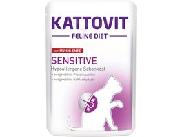 Kattovit Katzennassfutter Feline Diet Sensitive Huhn Ente