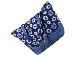 Tasche blau mit Blumenmuster